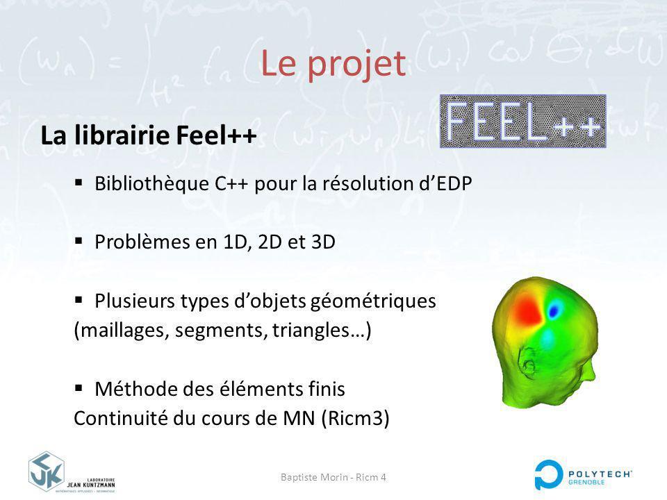 Baptiste Morin - Ricm 4 Le projet La librairie Feel++ Bibliothèque C++ pour la résolution dEDP Problèmes en 1D, 2D et 3D Plusieurs types dobjets géométriques (maillages, segments, triangles…) Méthode des éléments finis Continuité du cours de MN (Ricm3)