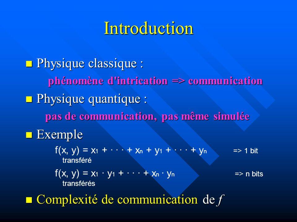 Introduction Physique classique : Physique classique : phénomène d intrication => communication phénomène d intrication => communication Physique quantique : Physique quantique : pas de communication, pas même simulée pas de communication, pas même simulée Exemple Exemple f(x, y) = x 1 + · · · + x n + y 1 + · · · + y n => 1 bit transféré f(x, y) = x 1 · y 1 + · · · + x n · y n => n bits transférés Complexité de communication de f Complexité de communication de f