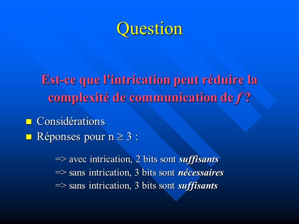 Réponse et explication 1 Avec intrication, 2 bits sont suffisants L intrication concerne 3n qubits, n pour chacune des parties A(lice), B(ob) et C(arol) L intrication concerne 3n qubits, n pour chacune des parties A(lice), B(ob) et C(arol) Notation : Notation : Les N bits d entrée de Y sont notés xY = xY 1, …, xY n Les N qubits de Y sont notés qY 1, …, qY n Pour chaque i, le triplet qA i, qB i, qC i est dans l état: Pour chaque i, le triplet qA i, qB i, qC i est dans l état: ½ ( 001> +  010> +  100> -  111>)