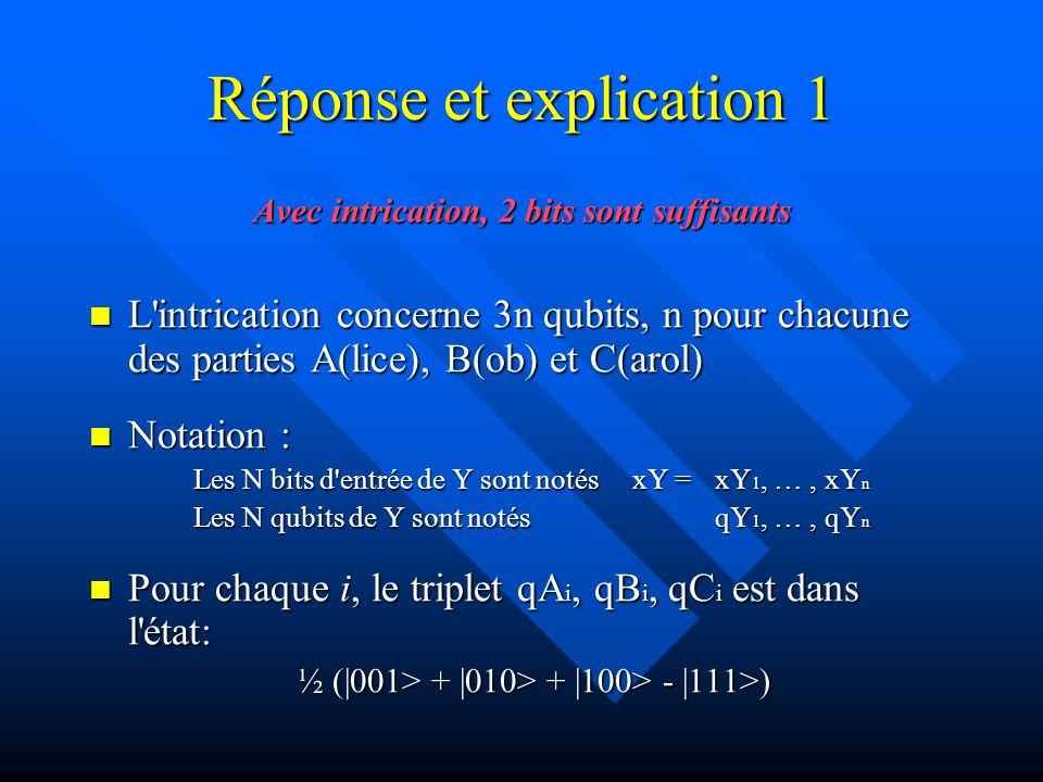 Réponse et explication 1 Avec intrication, 2 bits sont suffisants L intrication concerne 3n qubits, n pour chacune des parties A(lice), B(ob) et C(arol) L intrication concerne 3n qubits, n pour chacune des parties A(lice), B(ob) et C(arol) Notation : Notation : Les N bits d entrée de Y sont notés xY = xY 1, …, xY n Les N qubits de Y sont notés qY 1, …, qY n Pour chaque i, le triplet qA i, qB i, qC i est dans l état: Pour chaque i, le triplet qA i, qB i, qC i est dans l état: ½ (|001> + |010> + |100> - |111>)