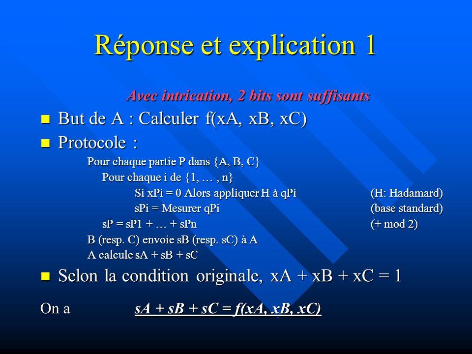 Réponse et explication 1 Avec intrication, 2 bits sont suffisants Preuve : Preuve : sA + sB + sC = f(xA, xB, xC) car sAi + sBi + sCi = xAi xBi xCi sA + sB + sC = f(xA, xB, xC) car sAi + sBi + sCi = xAi · xBi · xCi Selon condition originelle, xAi xBi xCi {001, 010, 100, 111} Cas 111 : Pas de H appliquée à qAi, qBi ou qCi, donc  qAi qBi qCi> est mesuré dans l état : ½ ( 001> +  010> +  100> -  111>) => sAi + sBi + sCi = 1 = xAi xBi xCi => sAi + sBi + sCi = 1 = xAi · xBi · xCi Cas 001 (et par symétrie, 010 et 100) :  qAi qBi qCi> est mesuré dans l état :  qAi qBi qCi> est mesuré dans l état : H H I ( ½ ( 001> +  010> + 100> + 111>)) = ½ ( 011> +  101> +  000> -  110>) => sAi + sBi + sCi = 0 = xAi xBi xCi => sAi + sBi + sCi = 0 = xAi · xBi · xCi