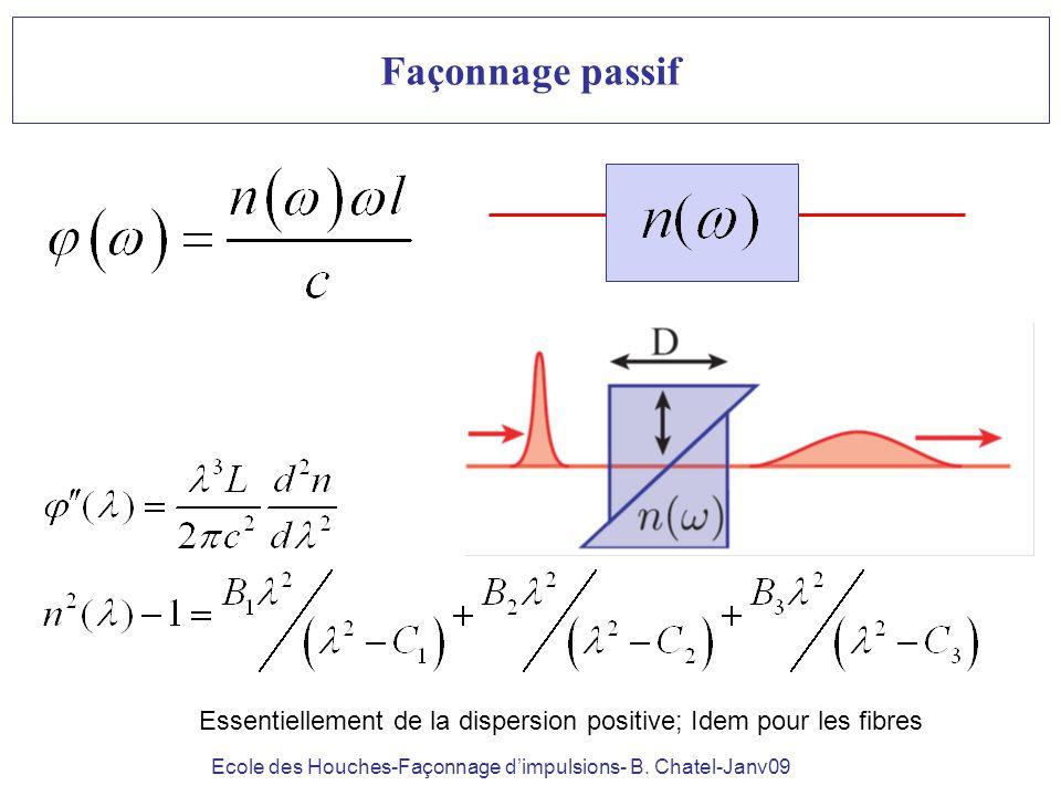 Ecole des Houches-Façonnage dimpulsions- B. Chatel-Janv09 Façonnage passif Essentiellement de la dispersion positive; Idem pour les fibres