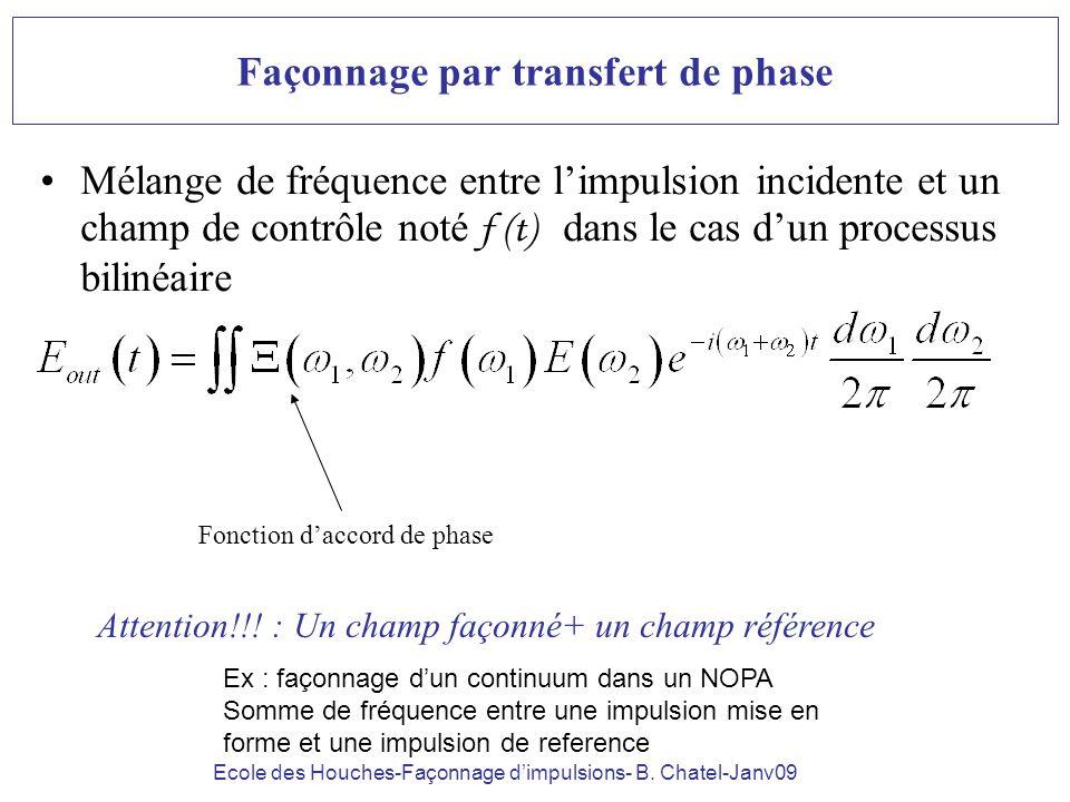 Ecole des Houches-Façonnage dimpulsions- B. Chatel-Janv09 Façonnage par transfert de phase Mélange de fréquence entre limpulsion incidente et un champ