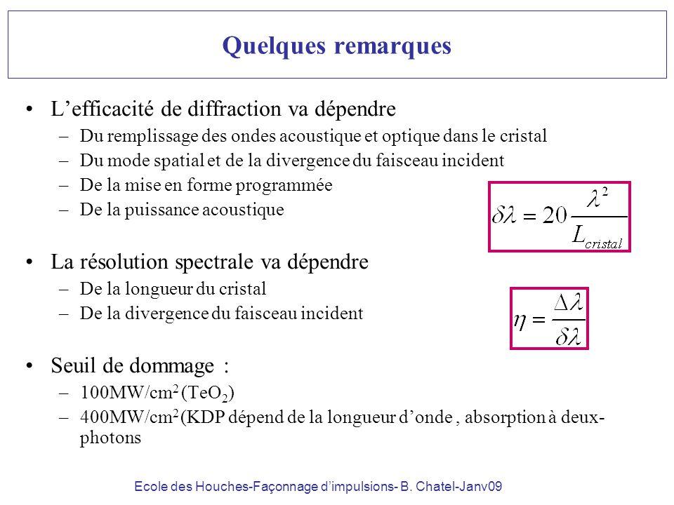 Ecole des Houches-Façonnage dimpulsions- B. Chatel-Janv09 Quelques remarques Lefficacité de diffraction va dépendre –Du remplissage des ondes acoustiq