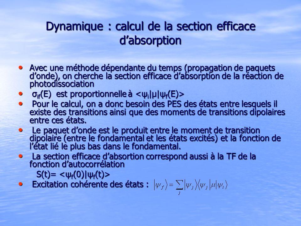 Dynamique : calcul de la section efficace dabsorption Avec une méthode dépendante du temps (propagation de paquets donde), on cherche la section efficace dabsorption de la réaction de photodissociation Avec une méthode dépendante du temps (propagation de paquets donde), on cherche la section efficace dabsorption de la réaction de photodissociation σ if (E) est proportionnelle à σ if (E) est proportionnelle à Pour le calcul, on a donc besoin des PES des états entre lesquels il existe des transitions ainsi que des moments de transitions dipolaires entre ces états.