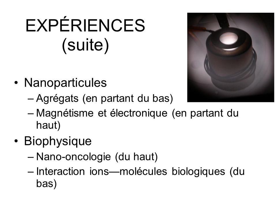 EXPÉRIENCES (suite) Nanoparticules –Agrégats (en partant du bas) –Magnétisme et électronique (en partant du haut) Biophysique –Nano-oncologie (du haut) –Interaction ionsmolécules biologiques (du bas)