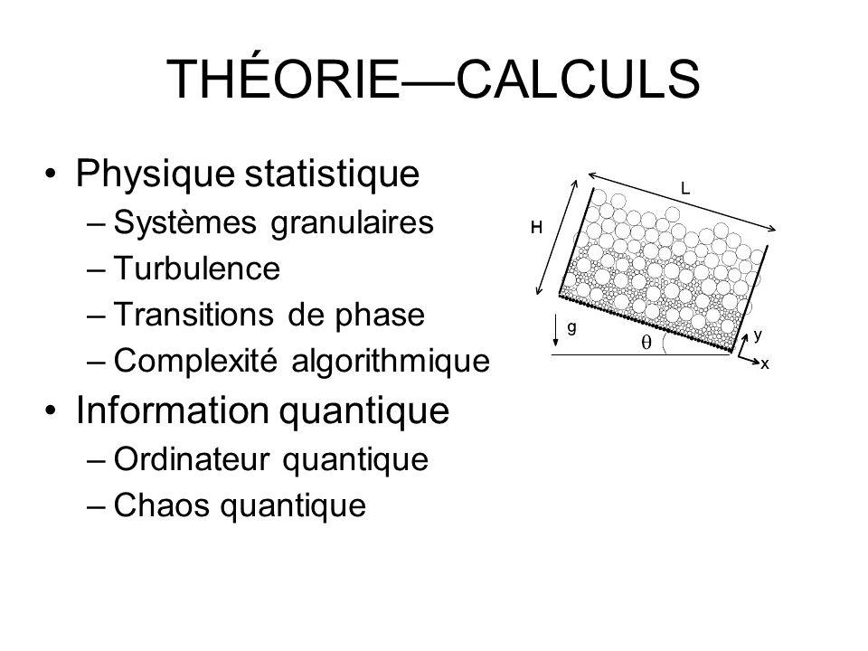 THÉORIECALCULS Physique statistique –Systèmes granulaires –Turbulence –Transitions de phase –Complexité algorithmique Information quantique –Ordinateur quantique –Chaos quantique