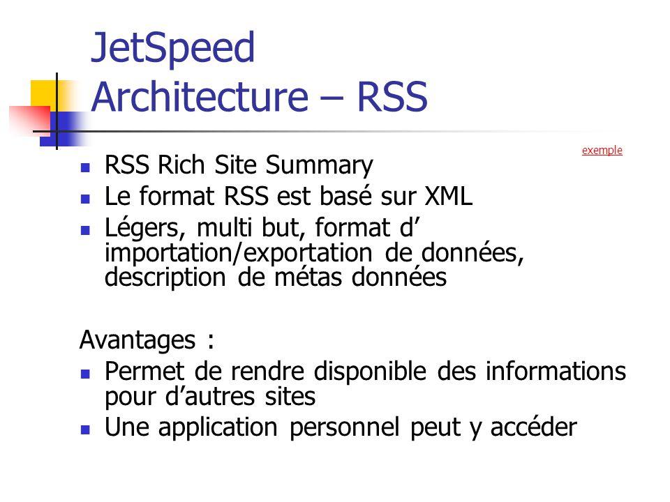 JetSpeed Architecture – RSS RSS Rich Site Summary Le format RSS est basé sur XML Légers, multi but, format d importation/exportation de données, description de métas données Avantages : Permet de rendre disponible des informations pour dautres sites Une application personnel peut y accéder exemple