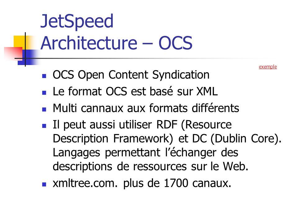 JetSpeed Architecture – OCS OCS Open Content Syndication Le format OCS est basé sur XML Multi cannaux aux formats différents Il peut aussi utiliser RDF (Resource Description Framework) et DC (Dublin Core).