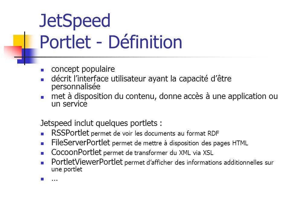 JetSpeed Portlet - Définition concept populaire décrit linterface utilisateur ayant la capacité dêtre personnalisée met à disposition du contenu, donne accès à une application ou un service Jetspeed inclut quelques portlets : RSSPortlet permet de voir les documents au format RDF FileServerPortlet permet de mettre à disposition des pages HTML CocoonPortlet permet de transformer du XML via XSL PortletViewerPortlet permet dafficher des informations additionnelles sur une portlet …