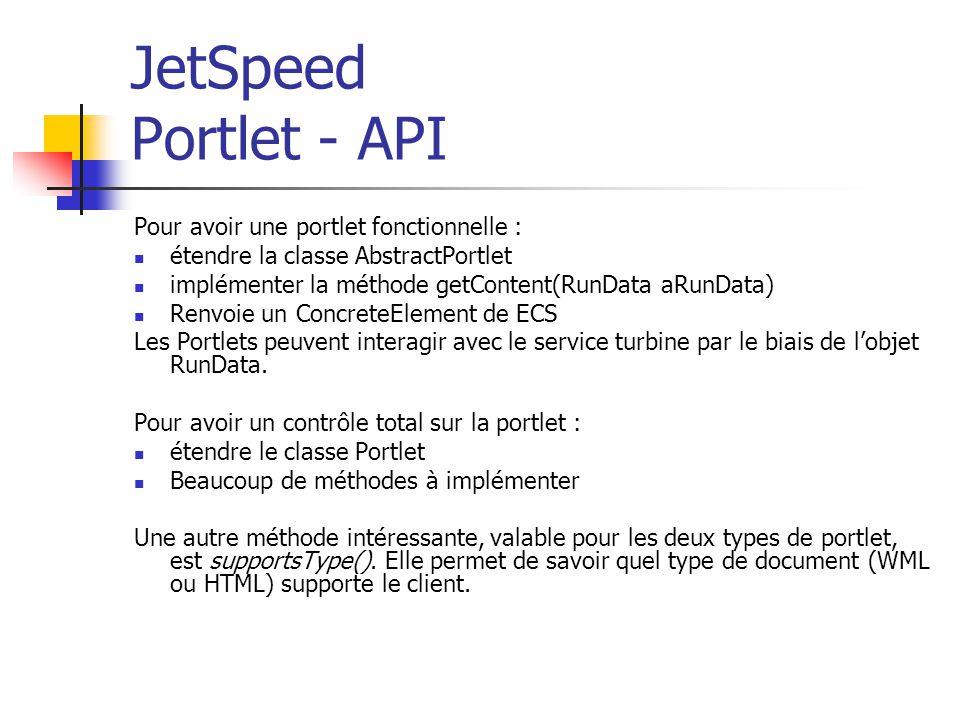 JetSpeed Portlet - API Pour avoir une portlet fonctionnelle : étendre la classe AbstractPortlet implémenter la méthode getContent(RunData aRunData) Renvoie un ConcreteElement de ECS Les Portlets peuvent interagir avec le service turbine par le biais de lobjet RunData.