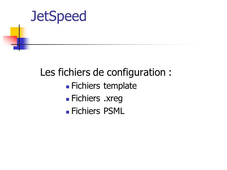 JetSpeed Les fichiers de configuration : Fichiers template Fichiers.xreg Fichiers PSML