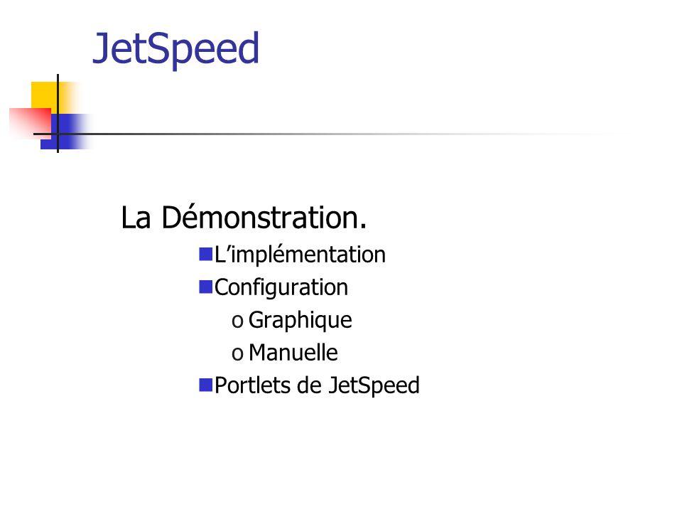 JetSpeed La Démonstration. Limplémentation Configuration oGraphique oManuelle Portlets de JetSpeed