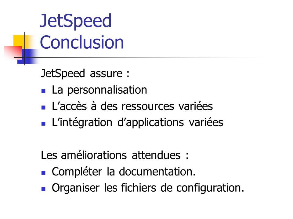 JetSpeed Conclusion JetSpeed assure : La personnalisation Laccès à des ressources variées Lintégration dapplications variées Les améliorations attendues : Compléter la documentation.