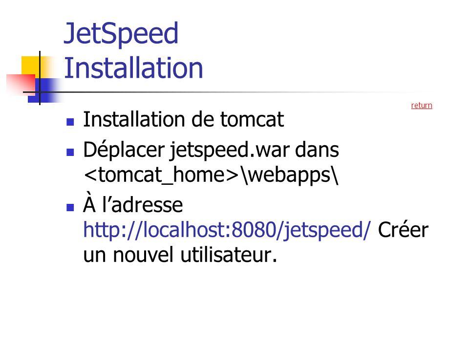 JetSpeed Installation Installation de tomcat Déplacer jetspeed.war dans \webapps\ À ladresse http://localhost:8080/jetspeed/ Créer un nouvel utilisateur.