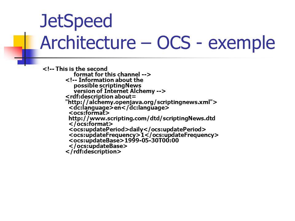 JetSpeed Architecture – OCS - exemple en http://www.scripting.com/dtd/scriptingNews.dtd daily 1 1999-05-30T00:00