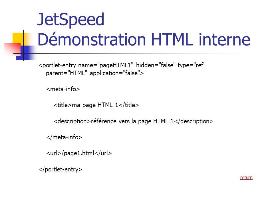 JetSpeed Démonstration HTML interne <portlet-entry name= pageHTML1 hidden= false type= ref parent= HTML application= false > ma page HTML 1 référence vers la page HTML 1 /page1.html return