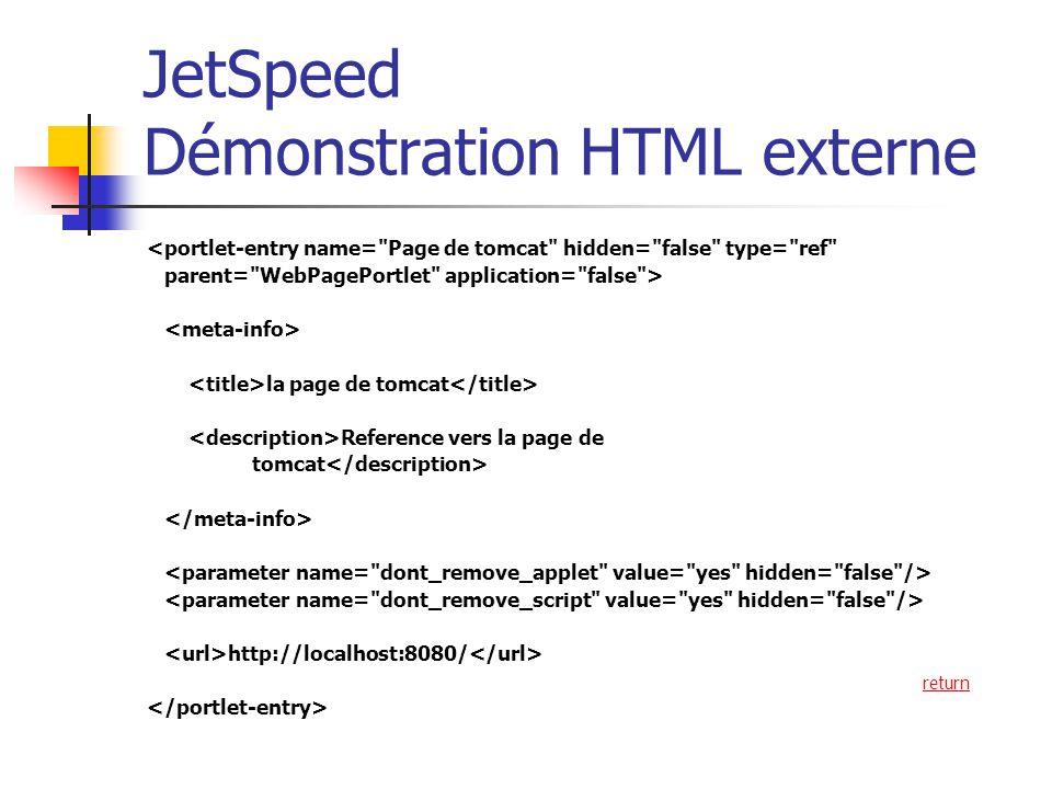 JetSpeed Démonstration HTML externe <portlet-entry name= Page de tomcat hidden= false type= ref parent= WebPagePortlet application= false > la page de tomcat Reference vers la page de tomcat http://localhost:8080/ return