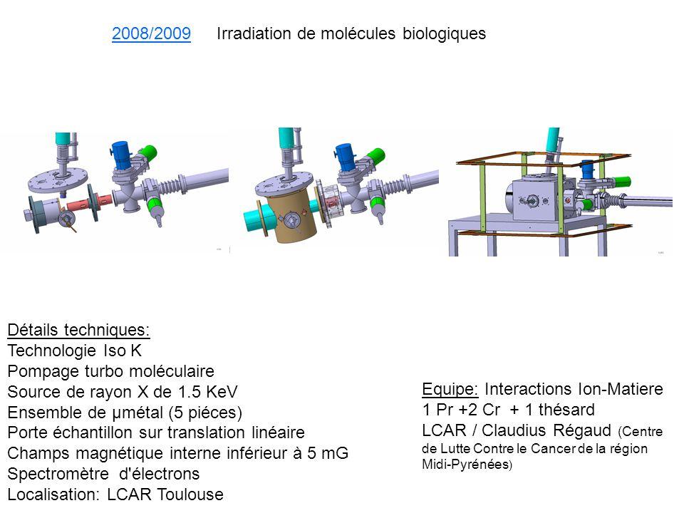 2008/2009 Irradiation de molécules biologiques Equipe: Interactions Ion-Matiere 1 Pr +2 Cr + 1 thésard LCAR / Claudius Régaud (Centre de Lutte Contre