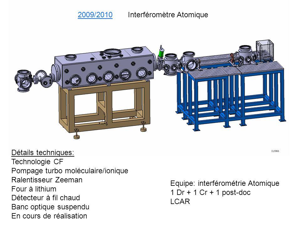 Equipe: interférométrie Atomique 1 Dr + 1 Cr + 1 post-doc LCAR Détails techniques: Technologie CF Pompage turbo moléculaire/ionique Ralentisseur Zeema