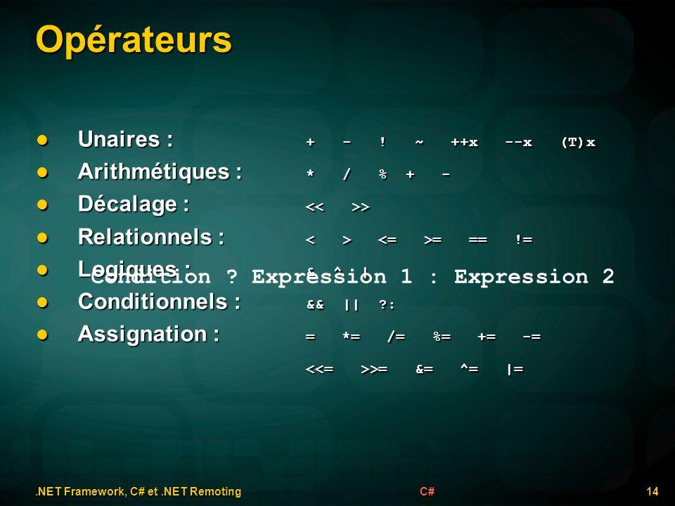 Opérateurs.NET Framework, C# et.NET Remoting 14C# Unaires : + - ! ~ ++x --x (T)x Unaires : + - ! ~ ++x --x (T)x Arithmétiques : * / % + - Arithmétique