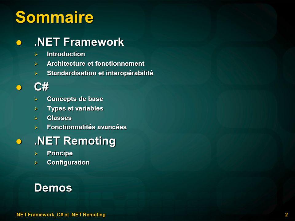 Sommaire.NET Framework.NET Framework Introduction Introduction Architecture et fonctionnement Architecture et fonctionnement Standardisation et intero