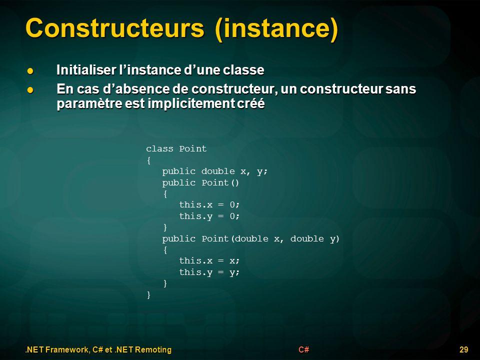 Constructeurs (instance).NET Framework, C# et.NET Remoting 29C# class Point { public double x, y; public Point() { this.x = 0; this.y = 0; } public Po