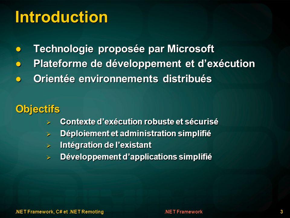 Introduction Technologie proposée par Microsoft Technologie proposée par Microsoft Plateforme de développement et dexécution Plateforme de développeme