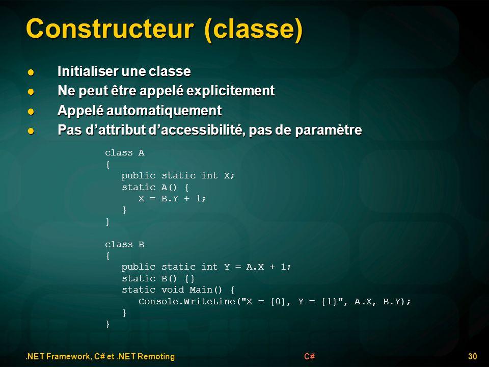Constructeur (classe).NET Framework, C# et.NET Remoting 30C# class A { public static int X; static A() { X = B.Y + 1; } class B { public static int Y