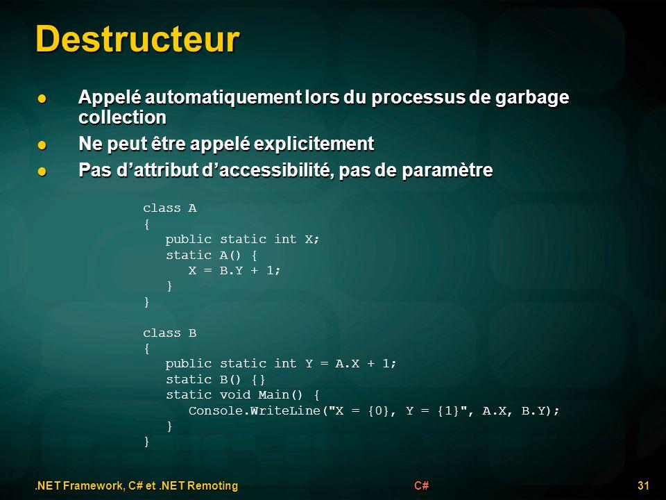 Destructeur.NET Framework, C# et.NET Remoting 31C# class A { public static int X; static A() { X = B.Y + 1; } class B { public static int Y = A.X + 1; static B() {} static void Main() { Console.WriteLine( X = {0}, Y = {1} , A.X, B.Y); } Appelé automatiquement lors du processus de garbage collection Appelé automatiquement lors du processus de garbage collection Ne peut être appelé explicitement Ne peut être appelé explicitement Pas dattribut daccessibilité, pas de paramètre Pas dattribut daccessibilité, pas de paramètre