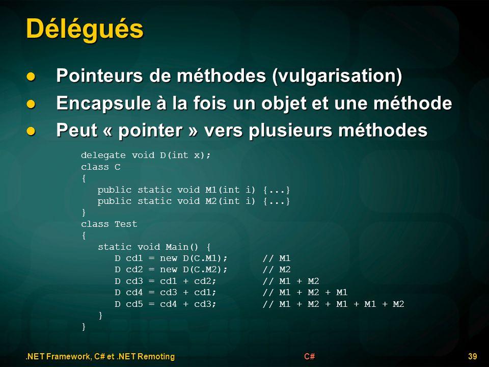 Délégués.NET Framework, C# et.NET Remoting 39C# Pointeurs de méthodes (vulgarisation) Pointeurs de méthodes (vulgarisation) Encapsule à la fois un obj