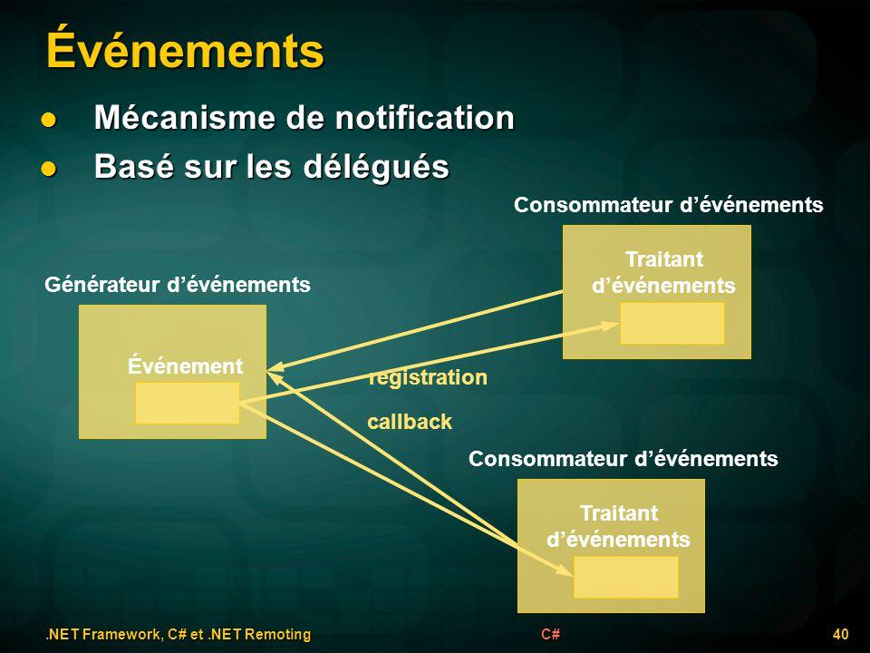 Événements.NET Framework, C# et.NET Remoting 40C# Mécanisme de notification Mécanisme de notification Basé sur les délégués Basé sur les délégués Géné