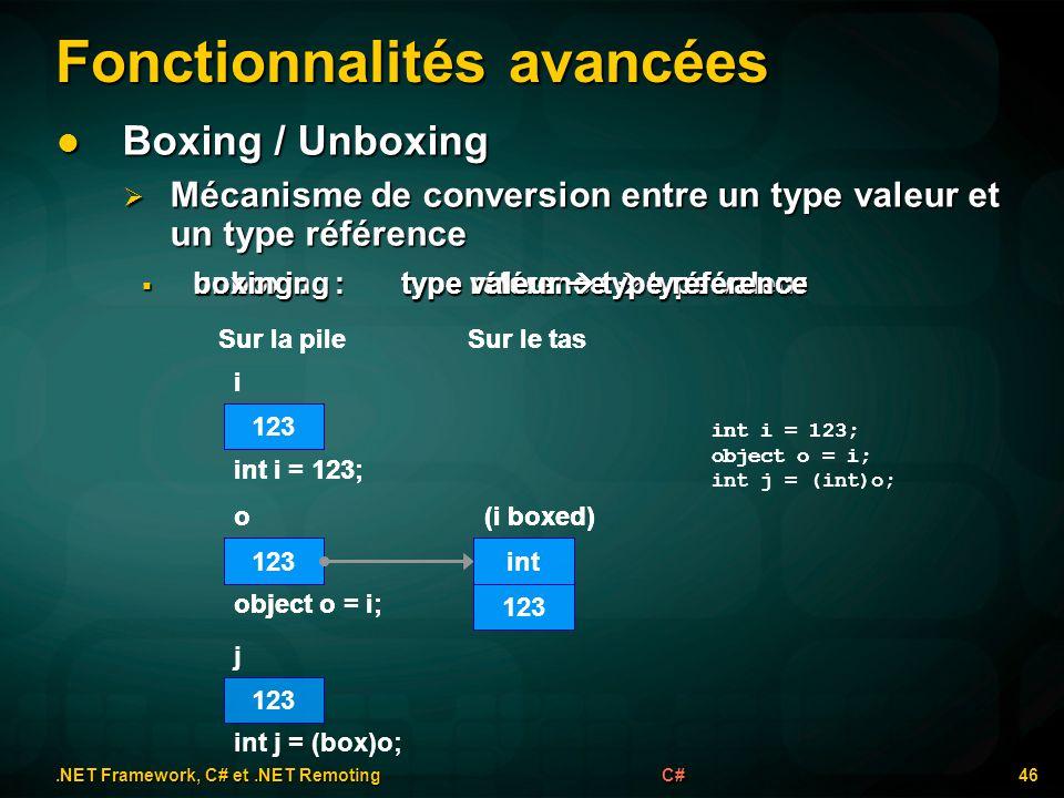 unboxing :type référence type valeur unboxing :type référence type valeur boxing :type valeur type référence boxing :type valeur type référence Foncti