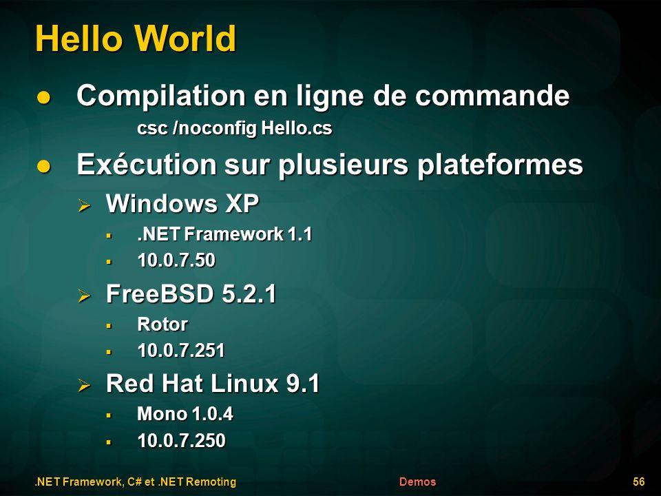 Hello World.NET Framework, C# et.NET Remoting 56Demos Compilation en ligne de commande Compilation en ligne de commande csc /noconfig Hello.cs Exécuti