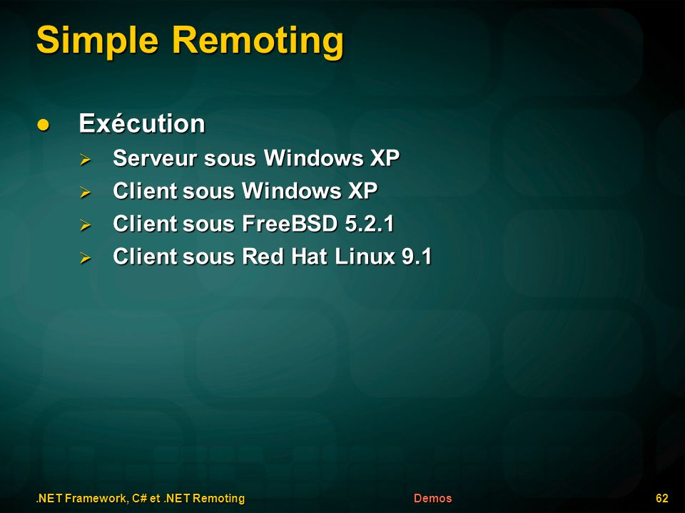Simple Remoting.NET Framework, C# et.NET Remoting 62Demos Exécution Exécution Serveur sous Windows XP Serveur sous Windows XP Client sous Windows XP Client sous Windows XP Client sous FreeBSD 5.2.1 Client sous FreeBSD 5.2.1 Client sous Red Hat Linux 9.1 Client sous Red Hat Linux 9.1