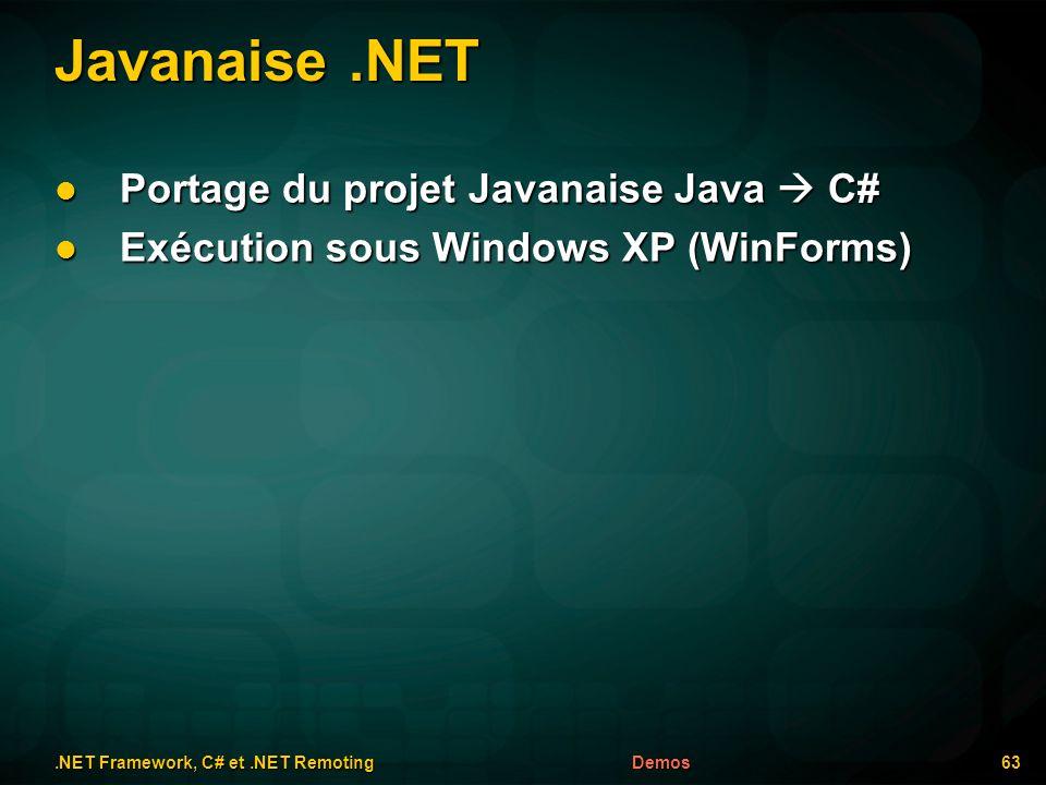 Javanaise.NET.NET Framework, C# et.NET Remoting 63Demos Portage du projet Javanaise Java C# Portage du projet Javanaise Java C# Exécution sous Windows XP (WinForms) Exécution sous Windows XP (WinForms)