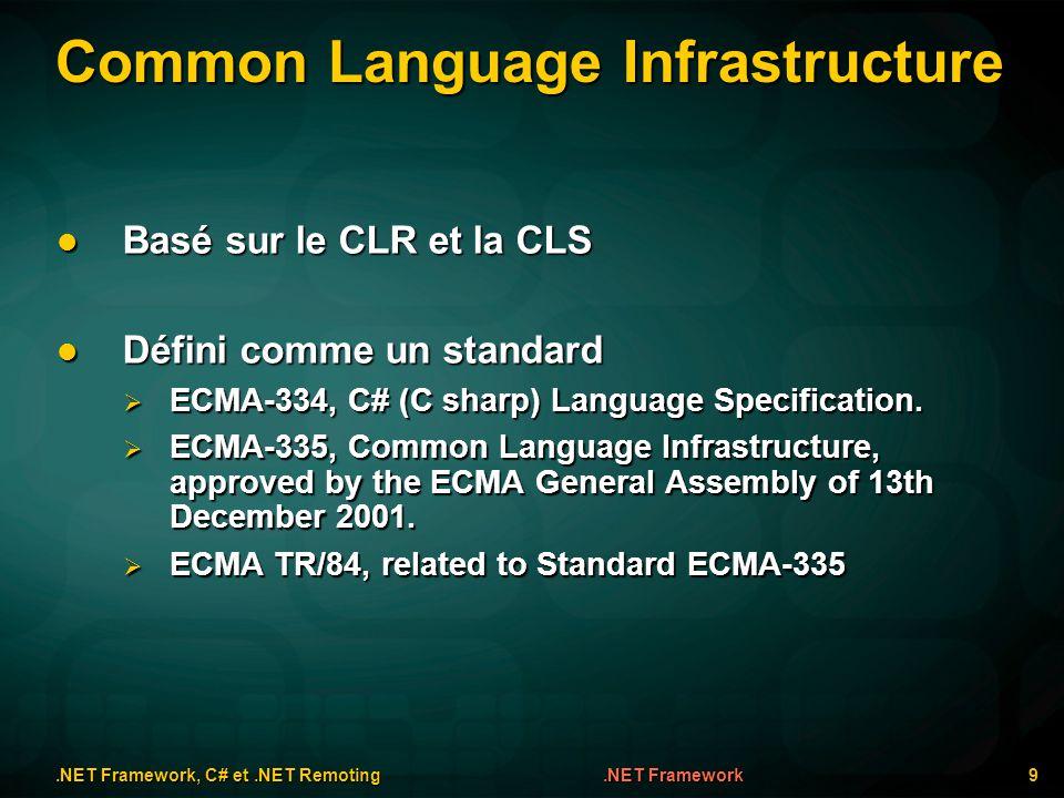 Simple Remoting.NET Framework, C# et.NET Remoting 60Demos Client (écrit en C#) Client (écrit en C#) // Client.cs using System; using System.Runtime.Remoting; namespace Remoting { public class Client { public static void Main(string[] args) { string param; if(args.Length != 1) { param = nowhere :-/ ; } else { param = args[0]; } RemotingConfiguration.Configure( Client.exe.config ); RemotableType remoteObject = new RemotableType(); Console.WriteLine(remoteObject.StringMethod(param));}}} Compilation Compilation csc /noconfig /r:RemotableType.dll Client.cs