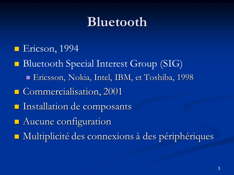 14 Structure de lAPI Java Bluetooth Disovery Disovery Communication Communication Device management Device management
