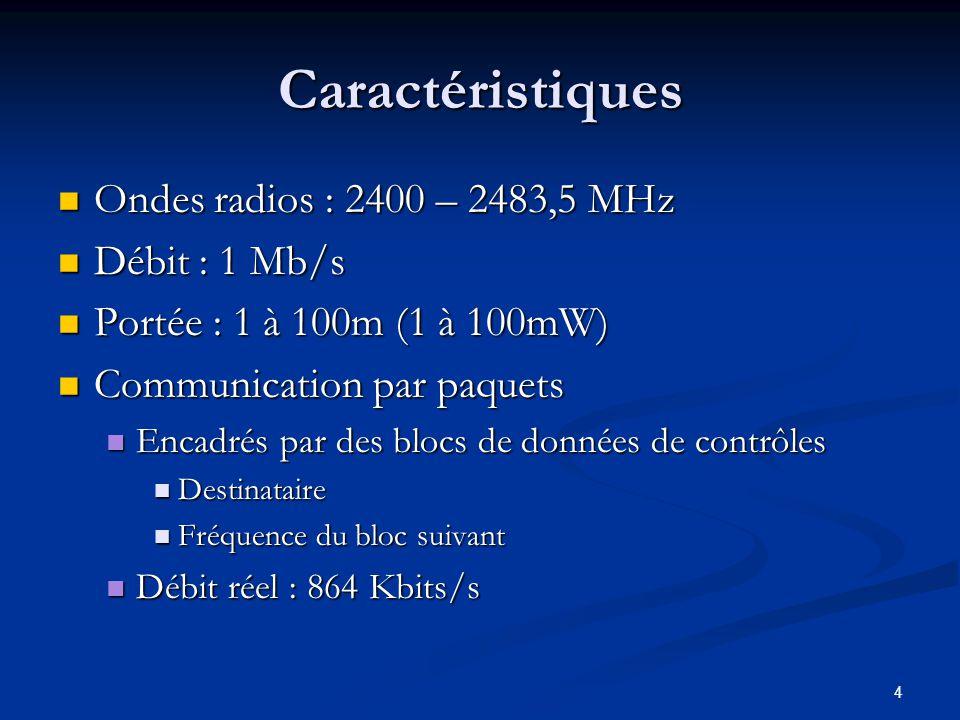 4 Caractéristiques Ondes radios : 2400 – 2483,5 MHz Ondes radios : 2400 – 2483,5 MHz Débit : 1 Mb/s Débit : 1 Mb/s Portée : 1 à 100m (1 à 100mW) Portée : 1 à 100m (1 à 100mW) Communication par paquets Communication par paquets Encadrés par des blocs de données de contrôles Encadrés par des blocs de données de contrôles Destinataire Destinataire Fréquence du bloc suivant Fréquence du bloc suivant Débit réel : 864 Kbits/s Débit réel : 864 Kbits/s