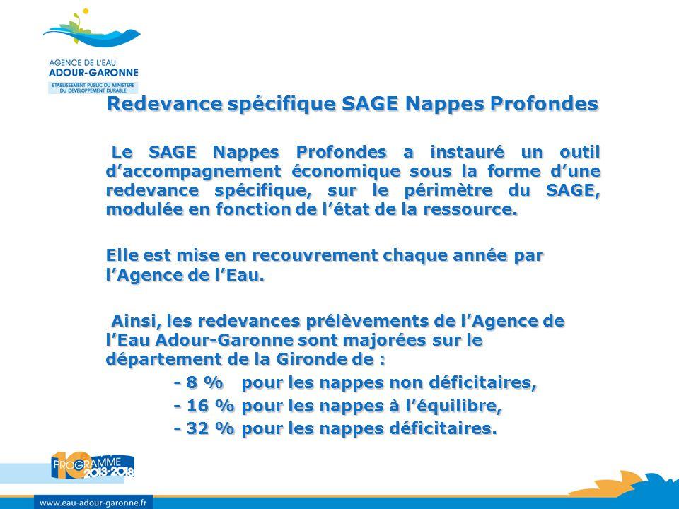 Redevance spécifique SAGE Nappes Profondes Le SAGE Nappes Profondes a instauré un outil daccompagnement économique sous la forme dune redevance spécifique, sur le périmètre du SAGE, modulée en fonction de létat de la ressource.