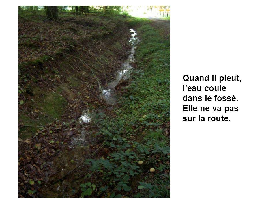 Quand il pleut, leau coule dans le fossé. Elle ne va pas sur la route.