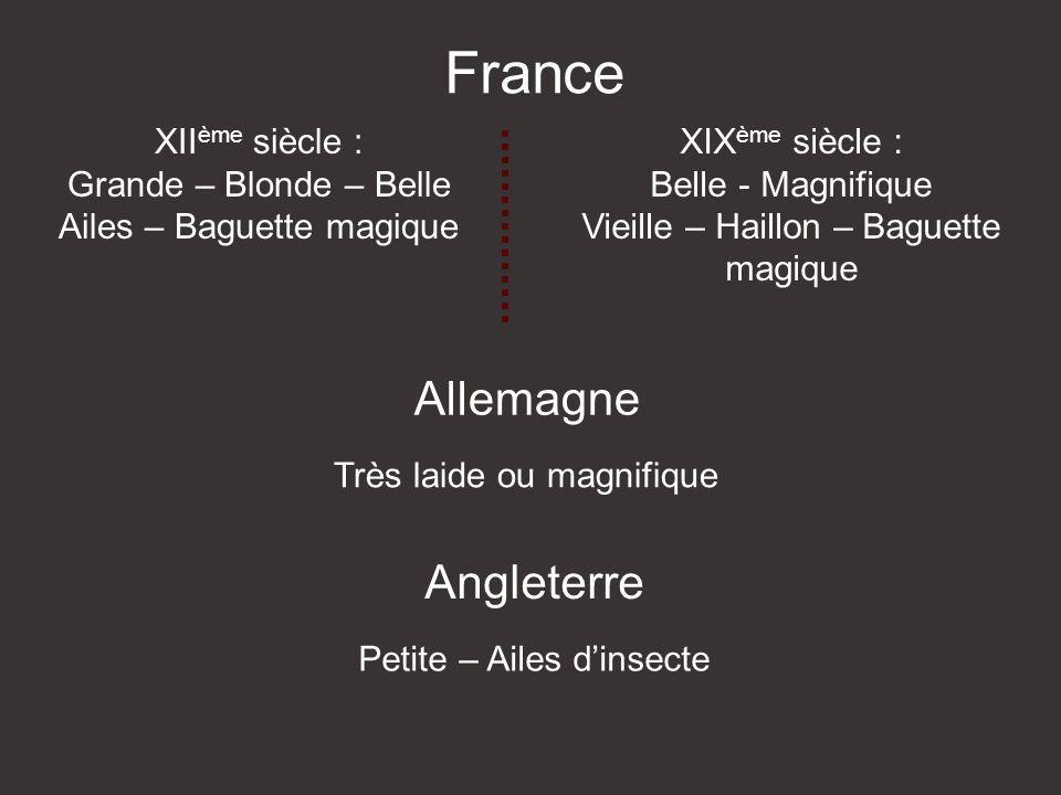 France Allemagne Angleterre XII ème siècle : Grande – Blonde – Belle Ailes – Baguette magique XIX ème siècle : Belle - Magnifique Vieille – Haillon – Baguette magique Très laide ou magnifique Petite – Ailes dinsecte