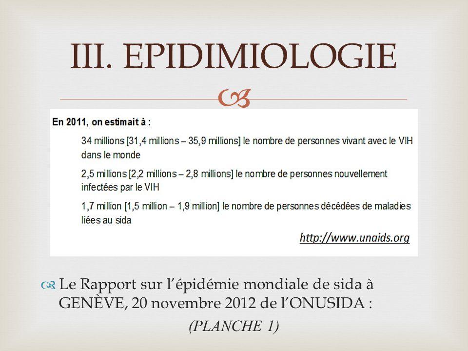 Le Rapport sur lépidémie mondiale de sida à GENÈVE, 20 novembre 2012 de lONUSIDA : (PLANCHE 1) III.EPIDIMIOLOGIE