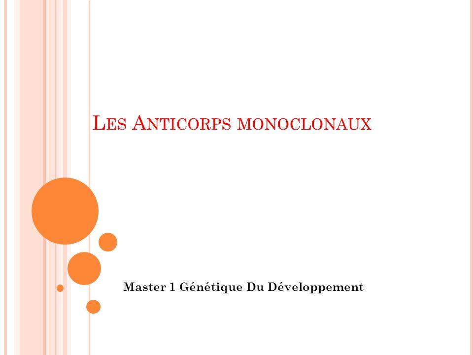 L ES A NTICORPS MONOCLONAUX Master 1 Génétique Du Développement