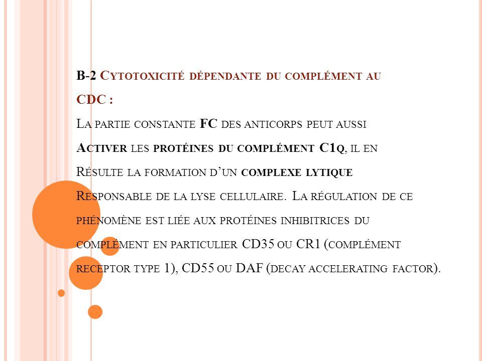 B-2 C YTOTOXICITÉ DÉPENDANTE DU COMPLÉMENT AU CDC : L A PARTIE CONSTANTE FC DES ANTICORPS PEUT AUSSI A CTIVER LES PROTÉINES DU COMPLÉMENT C1 Q, IL EN R ÉSULTE LA FORMATION D UN COMPLEXE LYTIQUE R ESPONSABLE DE LA LYSE CELLULAIRE.