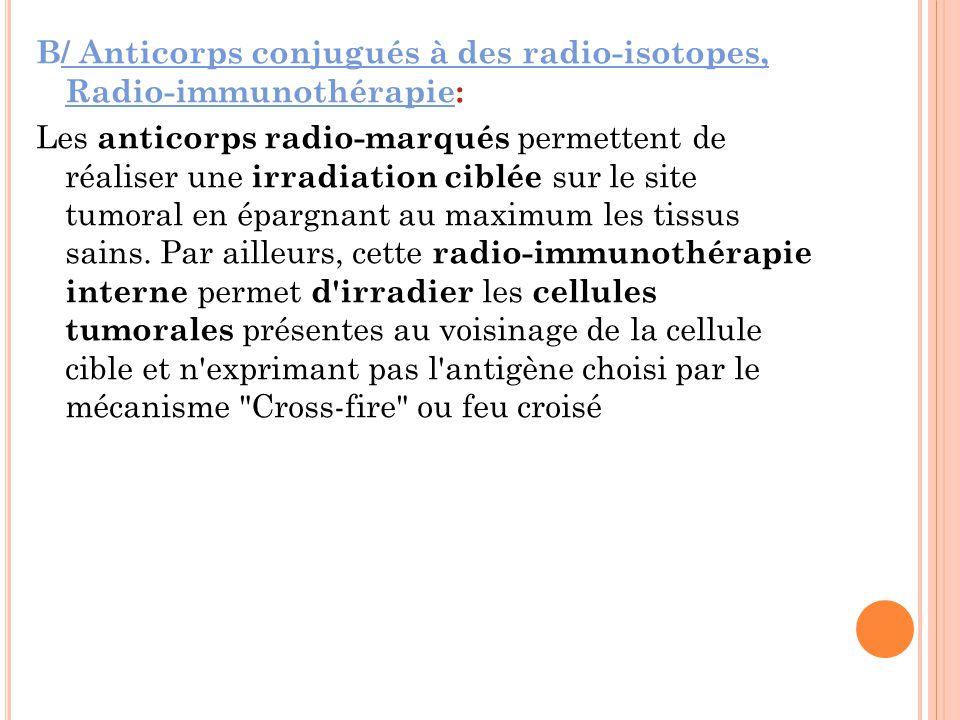B/ Anticorps conjugués à des radio-isotopes, Radio-immunothérapie: Les anticorps radio-marqués permettent de réaliser une irradiation ciblée sur le site tumoral en épargnant au maximum les tissus sains.