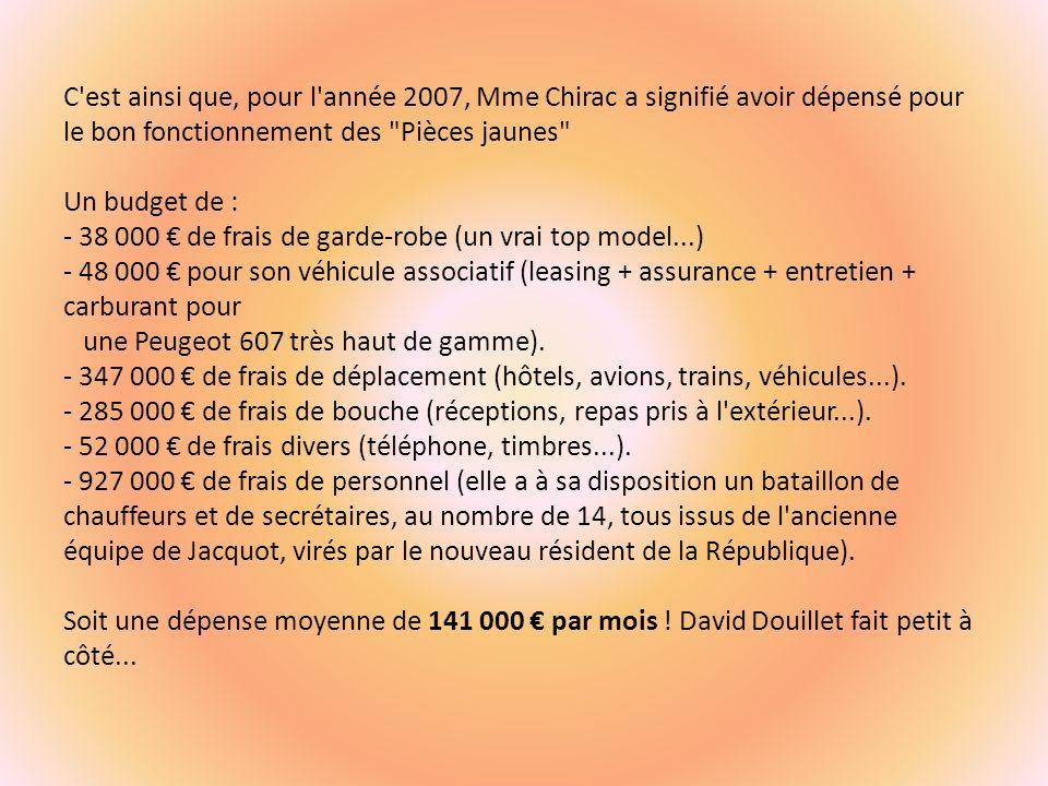 C est ainsi que, pour l année 2007, Mme Chirac a signifié avoir dépensé pour le bon fonctionnement des Pièces jaunes Un budget de : - 38 000 de frais de garde-robe (un vrai top model...) - 48 000 pour son véhicule associatif (leasing + assurance + entretien + carburant pour une Peugeot 607 très haut de gamme).
