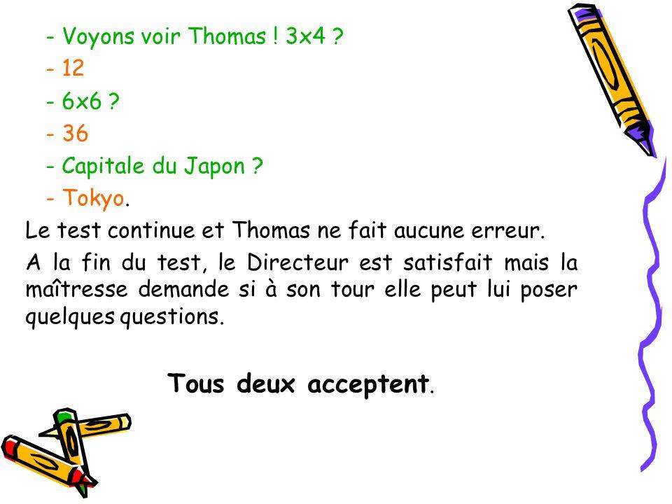 - Voyons voir Thomas ! 3x4 ? - 12 - 6x6 ? - 36 - Capitale du Japon ? - Tokyo. Le test continue et Thomas ne fait aucune erreur. A la fin du test, le D