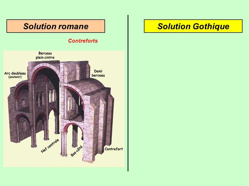Architecture romaneArchitecture gothique Pour résister à la poussée latérale, on utilise des contreforts Une innovation: larc-boutant Culée Arc-boutan