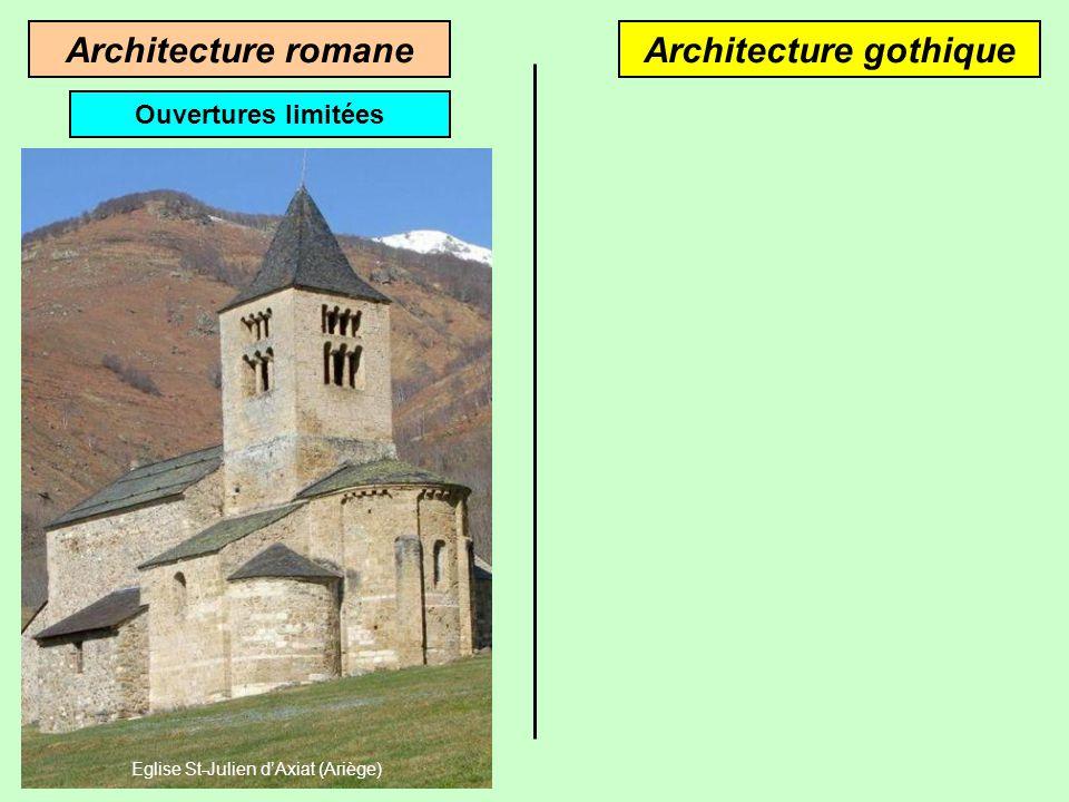 Architecture gothiqueArchitecture romane Les voûtes en berceau reposent sur des murs épais Les voûtes en ogives reposent sur des piliers Croisée dogiv